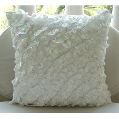 Ruffles in Love - Throw Pillow Covers - 16x16 Inches Silk Pillow Cover with Ruffles $25.25 on Etsy