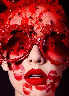 Collectors Love Love Love MERCURA NYC Eyewear & Bo: Beauty for Vogue Ukraine Photo by Jamie Nelson Styling by Michael Kozak Mercura NYC red baroque sunglasses