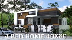 Sketchup 4 Bedrooms Home Design Plan This villa is modeling by SAM-ARCHITECT With 1 stories level.It's has 4 bedrooms.Sketchup 4 Bedrooms Home Design 4 Bedroom House Plans, Duplex House Plans, Modern House Plans, Autocad Layout, Bungalow Haus Design, Modern Bungalow, Modern Villa Design, Simple House Design, One Story Homes