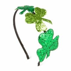 St. Patrick's Day Glitter Shamrocks Headband from #stpatricksday