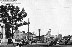 This photo of Seabreeze Amusement Park, c1920s, shows the Jack Rabbit Roller-coaster, built in 1920.  The Wild Cat Roller-coaster, at left, built in 1926, was destroyed by a fire in 1935.