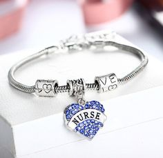 Hot and Sexy Engraved Nurse Silver Bracelet with Heart