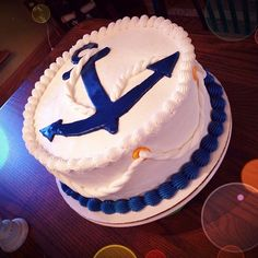"Navy Retirement, Blue Anchor on White, White or Chocolate, 8"", 10"" or 12"", Double or Triple Layer, Single, 2, or 3 Tier,"