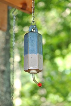 Ceramic Hummingbird Feeder in Blue by Hertzpottery on Etsy