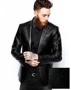 Dorian  Image 1 ofASOS Slim Fit Leather Look Blazer