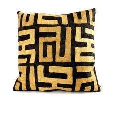 This black and natural appliquéd Kuba-cloth pillow is backed in a new black…                                                                                                                                                                                 Plus