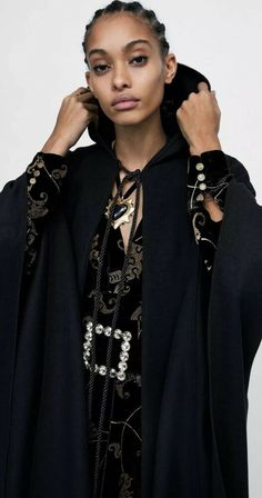 7eaf732e Details about BNWT ZARA Studio Collection LONG HOODED CAPE Black Size M Rrp £179