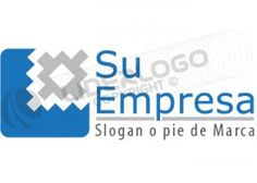 Logo con cuadro y engranaje azul y gris para consultoría y finanzas