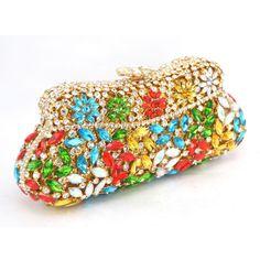 green Crystal evening bag women wedding bridal handbag pouch soiree pochette Rhinestones Purse Glasses Bling clutches 88342