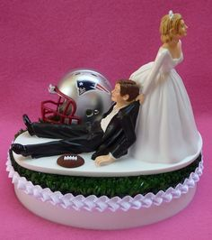 Wedding Cake Topper - New England Patriots Football Themed Turf Topper