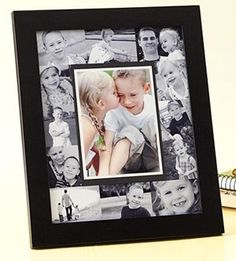 For grandparents, cover an 8x10 photo mat with a collage of black-and-white photos, put colored photo in middle