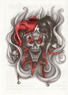 Brilliant-Evil-Jester-Skull-With-Flames-In-Eyes-Tattoo-Design.jpg (722×1000)