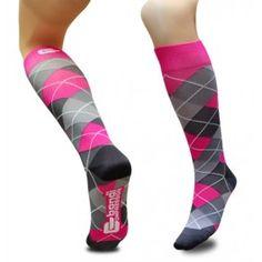 Compressiekousen - Pink & Gray Argyle - Hiphardlopen