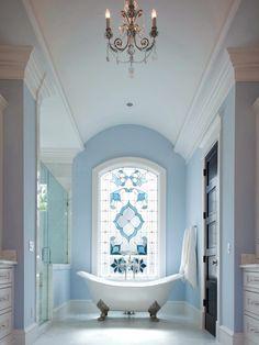 Traditional Bathroom 415879346818799076 - Incredible ~ gorgeous pale powder blue and crisp white ~ elegant bathroom! The stained glass window is amazing! Bad Inspiration, Decoration Inspiration, Bathroom Inspiration, Decor Ideas, Diy Ideas, Creative Ideas, Dream Bathrooms, Beautiful Bathrooms, Small Bathroom