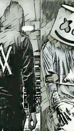 Alan Walker x Marshmello Music Wallpaper, Cartoon Wallpaper, Iphone Wallpaper, Dope Wallpapers, Gaming Wallpapers, Marshmello Wallpapers, Sketch Style, Allen Walker, Walker Art