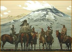 Indians on horseback, Southwestern art print