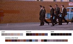 Movies In Color: Quentin Tarantino Week Reservoir Dogs, Reservoir Dogs, Movies In Color, Color In Film, Quentin Tarantino, Roxy, Movie Color Palette, Colour Palettes, Color Script, Cinematic Photography