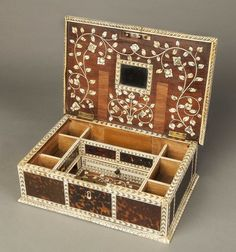 An Antique Indo-Portuguese Ladies Toilet Box (c. 1740 India Portugal). Tortoiseshell, ivory