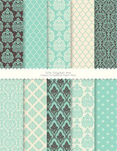 Damask Digital Scrapbook Paper Pack 8.5x11300 dpi by VNdigitalart, $3.00