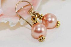 Peach Pearl Earrings Bridesmaid Earrings by ornatetreasures, $28.00-http://www.etsy.com/treasury/MzQ0OTMxMDN8MjcyMjE0MzY5MQ/etsy-promotion-f-lovely-july
