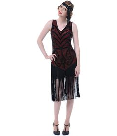 "Unique Vintage 1920s Style ""The Sable"" Red & Black Beaded Dropped Waist Fringe Skirt Flapper Dress"