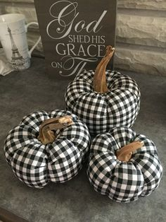 My handmade pumpkins. Buffalo check pumpkin. Wayside Treasures. Fabric pumpkins.