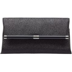 Diane von Furstenberg Leather Envelope Glitter Clutch (4,250 THB) ❤ liked on Polyvore featuring bags, handbags, clutches, black, fold over handbag, diane von furstenberg handbags, black handbags, diane von furstenberg and genuine leather handbags