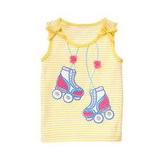 Baby Girl Sunshine Stripe Roller Skates Tank by Gymboree. cotton jersey, Features appliqués with detailed embroidery and accents, Permanent bow accents, Machine wash; Imported and Collection Name: Sugar Reef Spring Vacation, Sporty Girls, Gymboree, My Design, Kids Outfits, Fashion Outfits, Tank Tops, Skates, Roller Skating