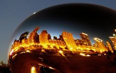 Chicago's skyline via reflection from the Bean in Millenium Park