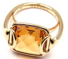 Hermes Citrine Horse Bit Yellow Gold Ring at 1stdibs