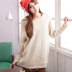 CatWorld - Drop-Shoulder Long Sweater