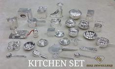 Kitchen Sets For Kids, Gold Kitchen, Veg Garden, Miniature Kitchen, Traditional Kitchen, Cooking Utensils, Doll Houses, Vintage Home Decor, Gold Jewelry
