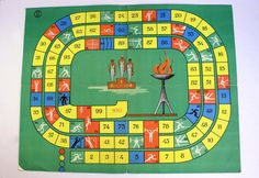 Vintage Board Game, Olympic Games, Vintage Sport Dice Game, Carton Board, Collectible, USSR era 1970s