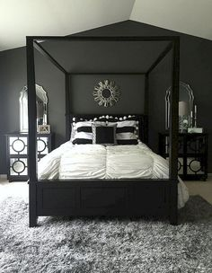 Black room decor simple bedroom canopy decorating ideas pink and white n best dec . gray and black bedroom modern decorating ideas white pink Black White And Grey Bedroom, Black Rooms, Bedroom Black, Small Room Bedroom, Trendy Bedroom, Small Rooms, Bedroom Modern, Master Bedrooms, Grey Bedroom Design