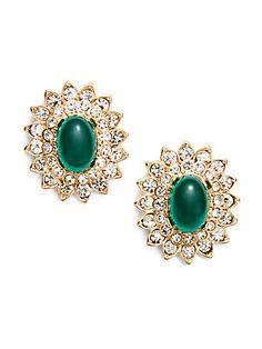 Kenneth+Jay+Lane Jeweled+Oval+Earrings/Green