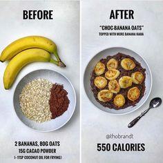 Chocolate banana oatsss+ sautéed banana - Here's how to use 2 banana's in one bo. - Chocolate banana oatsss+ sautéed banana – Here's how to use 2 banana's in one bo… Estás en - Healthy Meal Prep, Healthy Eating, Healthy Recipes, Healthy Food, Eating Raw, Raw Food, Healthy Cooking, Easy Recipes, Healthy Superbowl Snacks