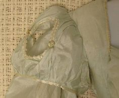 """Regency Period China Silk Gown Circa 1805: diamond cut out shoulder puffs trimmed in ivory """"pinked"""" satin ribbon"""