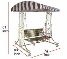 Porch Swing With Stand, Swing Table, Hanging Swing Chair, Wrought Iron Garden Furniture, Cool Swings, Yard Swing, Front Gate Design, Rocking Chair, Chair Design