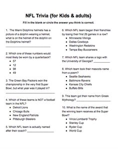 NFL Trivia for kids & adults free printable, not year specific - NFL Trivia for kids & adults free printable, not year specific Imágenes efectivas que le proporcion - Expirements For Kids, Hand Crafts For Kids, Mazes For Kids, Football Trivia, Football Tailgate, Football Season, Family Game Night, Family Games, Nametags For Kids