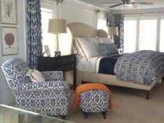 Stephanie Shaw Design 2011 Pleasure Avenue Orange and Blue Bedroom