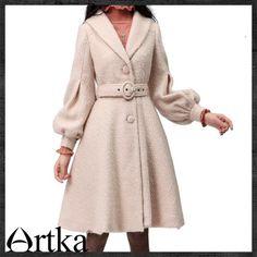 Artka Balloon Sleeve Belted Swing Hem Wool Coat FA10339D Light Pink