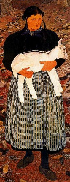 'La Ramasseuse de Feuilles Mortes,' 1909, Ernest Bieler, Swiss Painter, 1863-1948.
