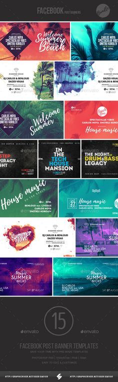 Electronic Music Event Facebook Post Banner Templates Bundle 4 — Photoshop PSD #facebook #techhouse • Download ➝ https://graphicriver.net/item/electronic-music-event-facebook-post-banner-templates-bundle-4/19904876?ref=pxcr
