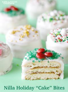 "How cute are these Nilla Holiday ""Cake"" Bites? No bake and a quick little trick to make nilla wafers taste like cake!"