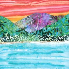HANALEI BAY Kauai Hawaii  9.75 Batik Fabric by kathysimpressions, $7.50