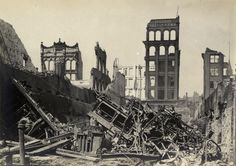 Aftermath of the Great Toronto Fire (April 19, 1904): Looking north from the south side of Wellington St., just west of Bay St.
