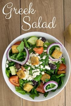 Greek Salad Recipe- This healthy Greek salad is absolutely amazing when tossed in a light and tangy vinaigrette!