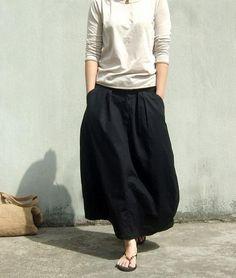 Loose black skirt