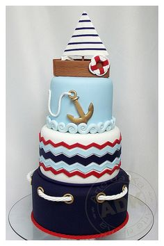 Bolo Marinheiro--nautical cake, sailboat, love the details, especially the rope and waves Baby Cakes, Baby Shower Cakes, Sea Cakes, Pink Cakes, Pretty Cakes, Cute Cakes, Beautiful Cakes, Amazing Cakes, Rodjendanske Torte