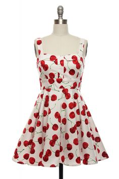 Cherry Popper Pin-Up Dress in White | Vintage, Retro, Indie Style Dresses